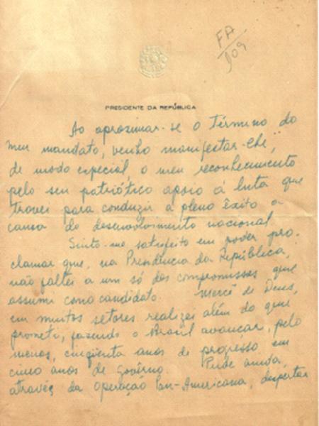 Uma carta do presidente Juscelino Kubitschek